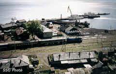 Вид на порт и станцию Байкал сверху